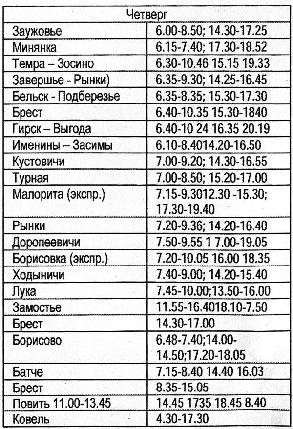 Расписание маршруток кобрин именины